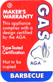 Gas - This appliance complied with a design certified by the AGA - Type-Tested certification